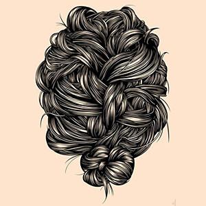 今天搜集各种线描的头发画法,假期有时间可以随手勾画一下哦!