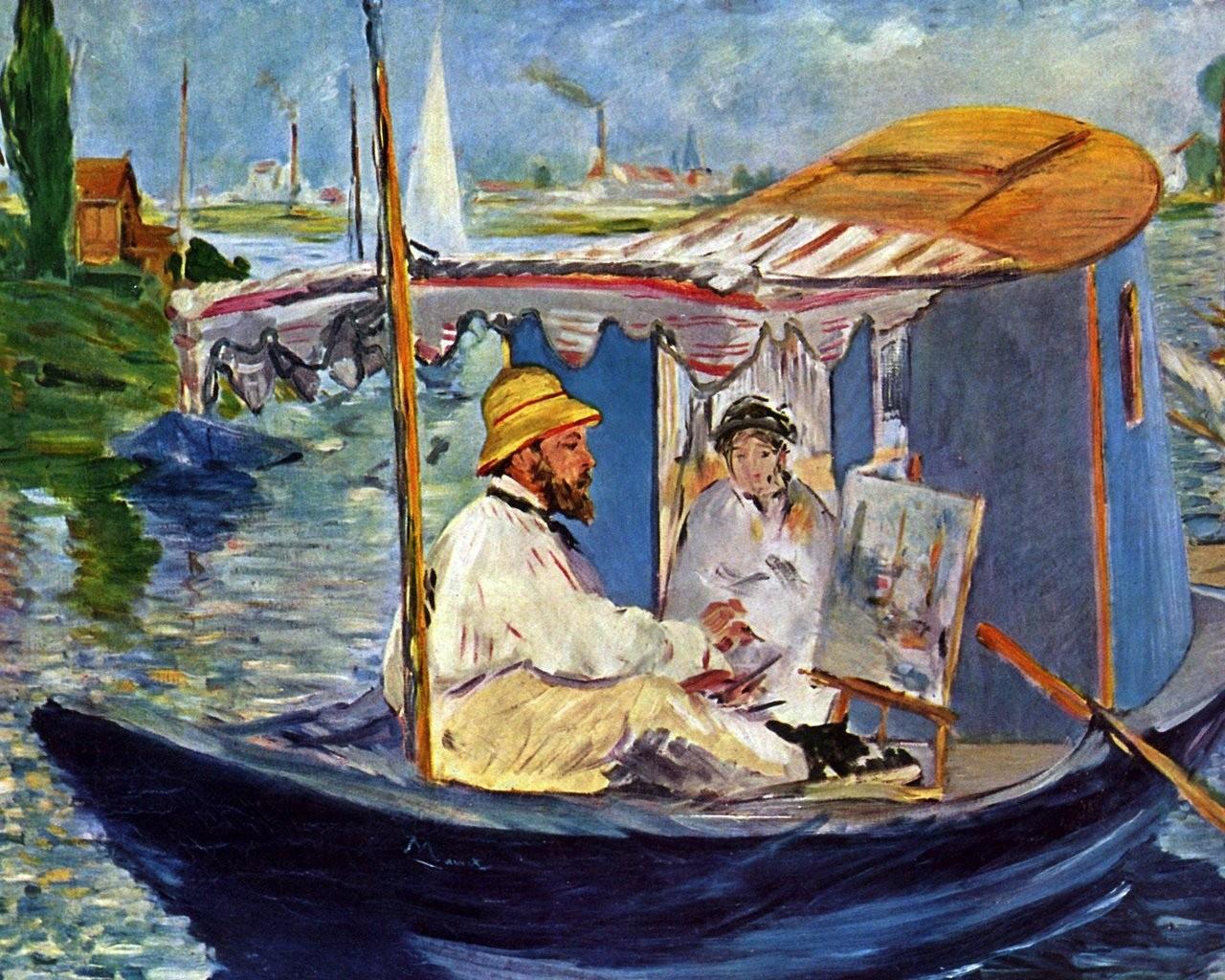 莫奈风景油画作品欣赏著名油画《阿尔让特伊的帆船》