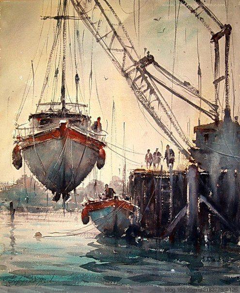 塞尔维亚艺术家dusan. d. jukaric水彩画欣赏