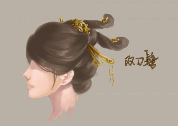 手绘古装女子发型 古代妃子手绘图片