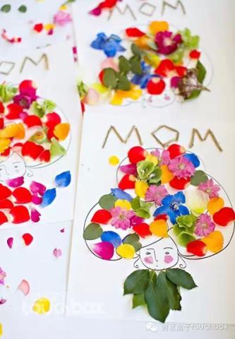 14)鲜花拼贴画   用这个季节最绚烂的鲜花,给妈妈做一幅漂亮的拼贴