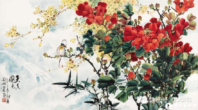 国画梨树开花图片