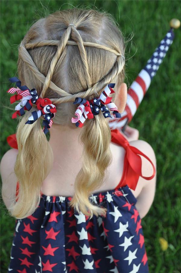 女童五角星发型扎法侧分享展示图片