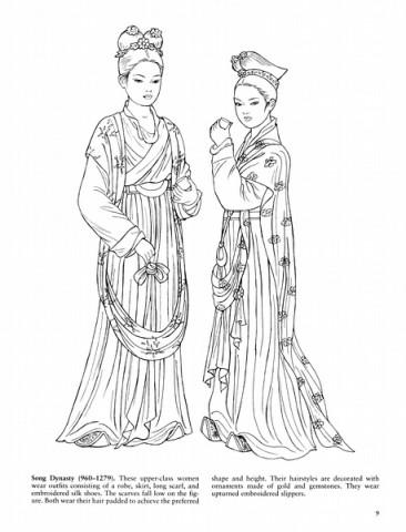 素材库:中国各朝代传统服饰手绘白描稿!(超全)