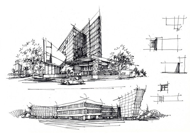 手绘达人:杜健(卓越手绘创始人)   首先是建筑草图部分:   作者