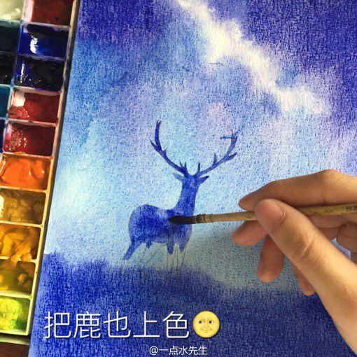 简单星空彩铅手绘教程