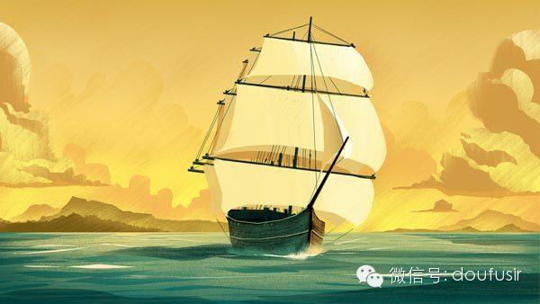 美式  船 手绘素材