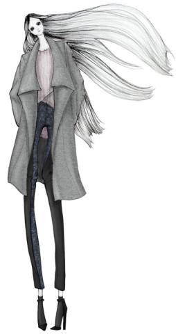 手绘时装服装设计图铅笔画展示