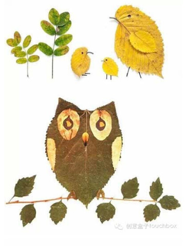 有趣的树叶拼贴画.