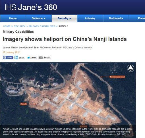 据英国简氏防务新闻网站1月22日报道:卫星图片显示中国在南麂列岛