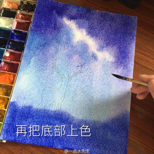 星空鹿水彩画手绘教程内容|星空鹿水彩画手绘教程图片
