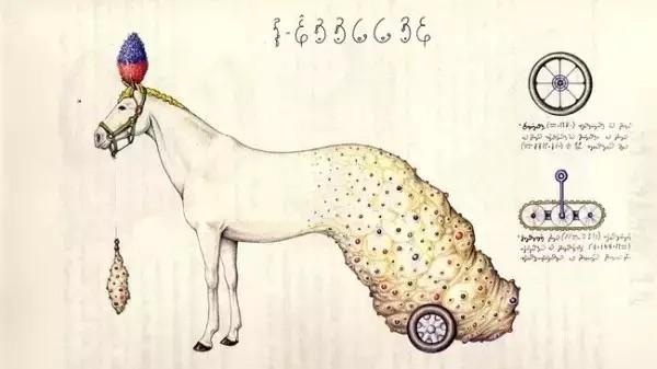 塞拉菲尼用彩色铅笔画出有着钳子、自行车轱辘和自来水笔形的肢体.