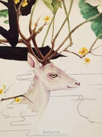 丙烯星空鹿的画法图解