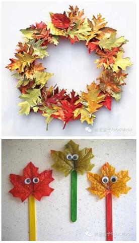 有趣的树叶拼贴画.使用各种形状,各种姿态,各种色彩的树叶进行拼
