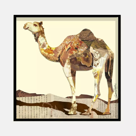 骆驼-拼贴画价格/$2180.00元   时 通过对不同用途废旧纸张的剪裁和