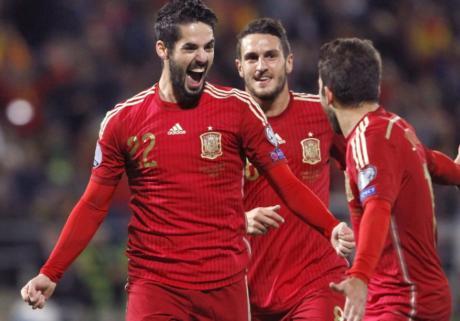 欧预赛-伊斯科世界波佩德罗进球 西班牙3-0-五