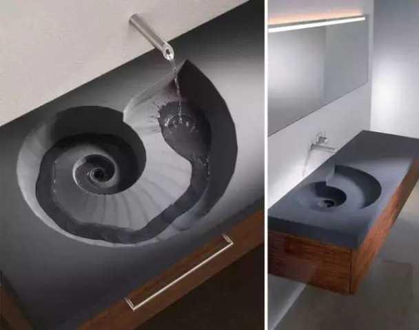 漂亮的悬浮式碎玻璃花纹洗手盆