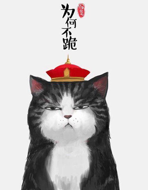 白茶家的猫咪 创意手绘插画