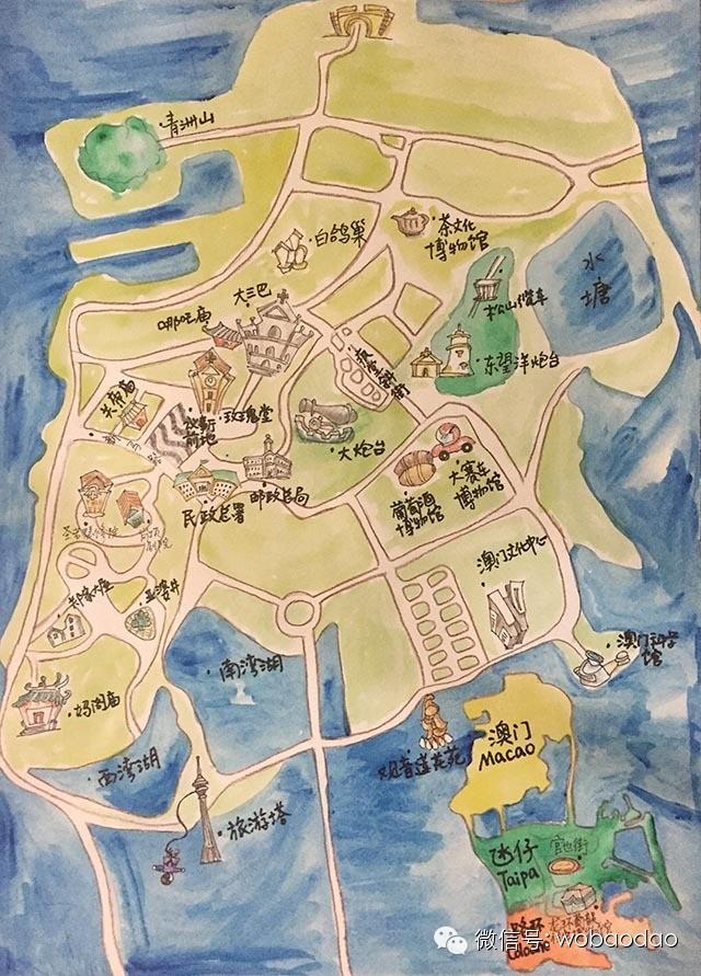 吃货旅游地图手绘