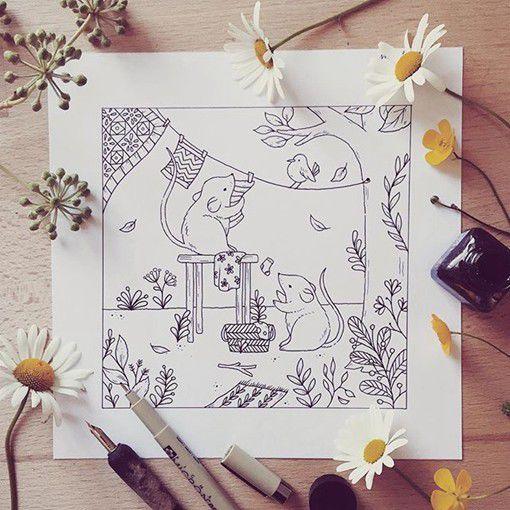 森林小动物及花草手绘插画(组图)