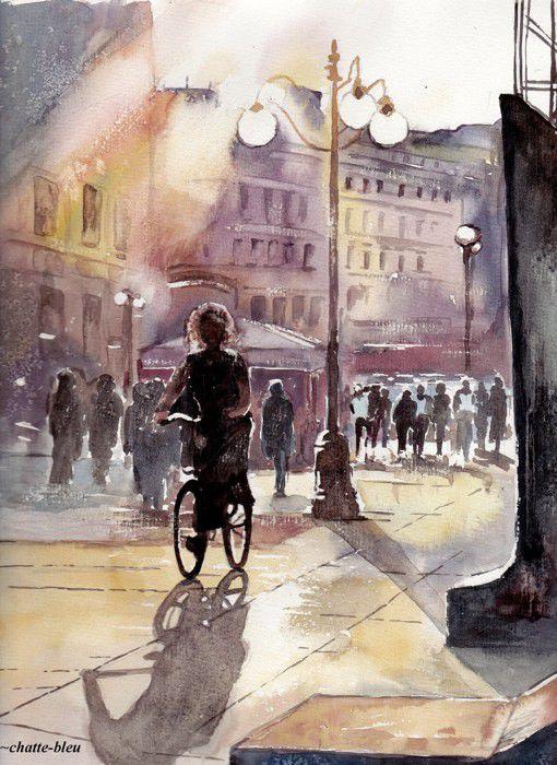 bleu的唯美城市街景水彩画绘画作品-世界各地的标志性城市水彩画作图片
