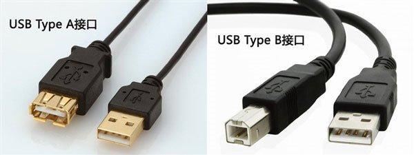 (左)为最常见的a型usb口(右)为b型usb接口