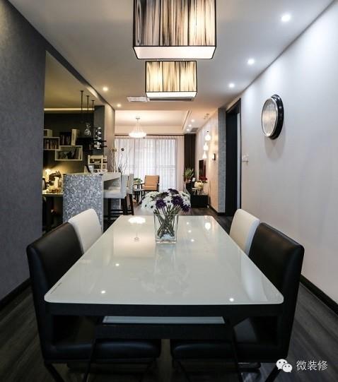 【软木地板装修效果图】170平现代简约黑白灰装修
