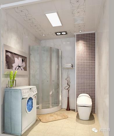 4平米正方形卫生间布局装修效果图 现代简约卫生间集成吊顶效果图-