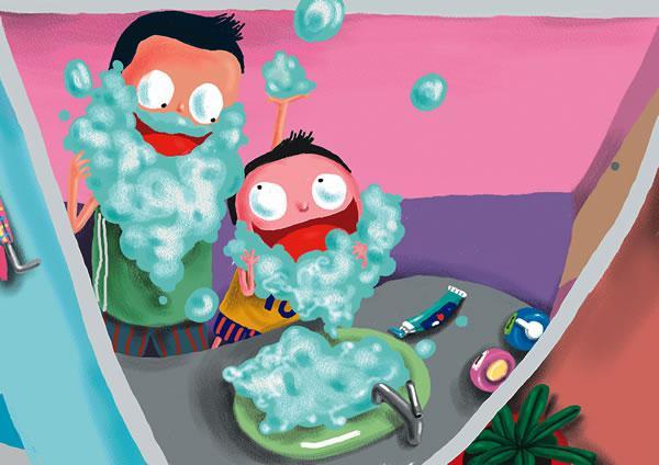 将刷牙时牙膏制造出的白色泡沫,抹在宝宝嘴边,做成圣诞老人的白胡子