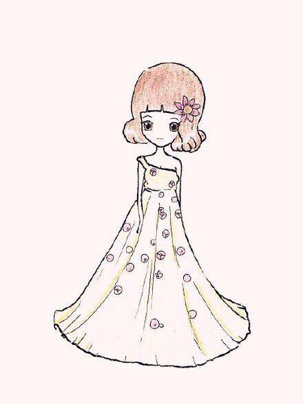 【简笔】简笔画风格的唯美彩铅婚纱!