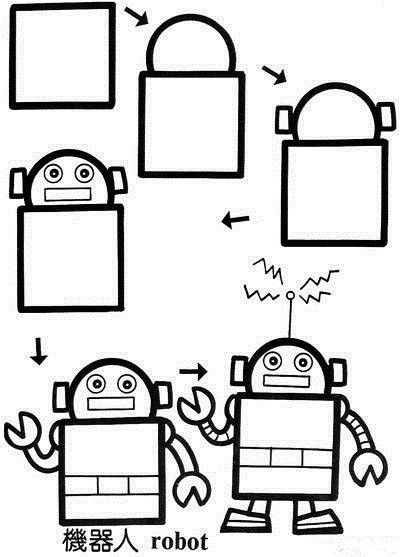 简笔画机器人 超实用的简笔画教程 应付熊孩子的必备技能get
