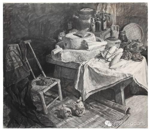 《外婆家的老房子》(素描)148*128cm 2004.5广州