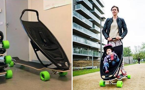 国外的父母居然用这样的婴儿车