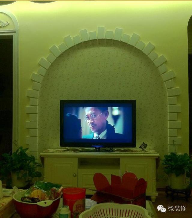 菱镜石膏板电视墙效果图