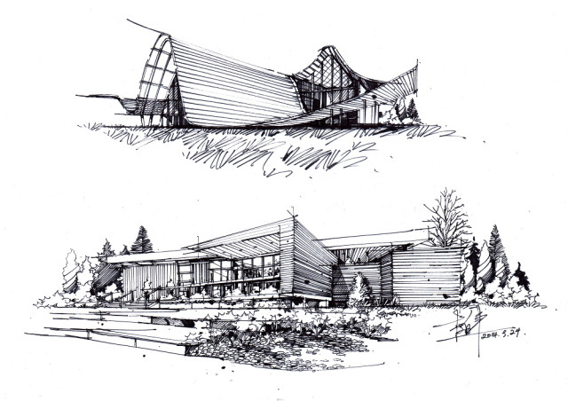 卓越手绘培训机构主讲教师   生态保护展馆建筑手绘设计方案获2010