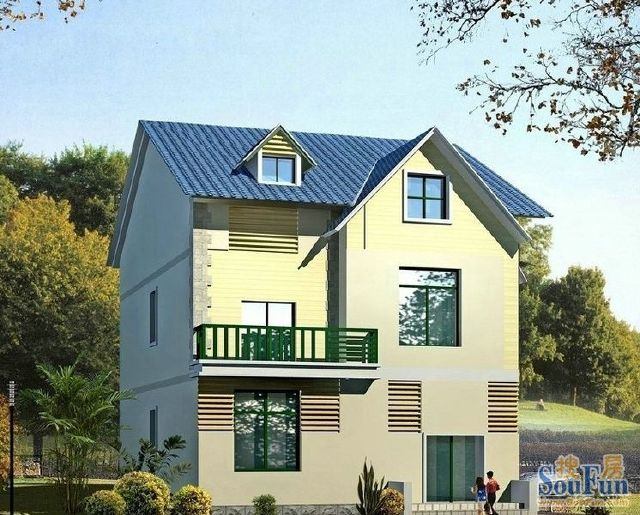 别墅外观图片大全 新农村实用型双拼二层住宅效果图
