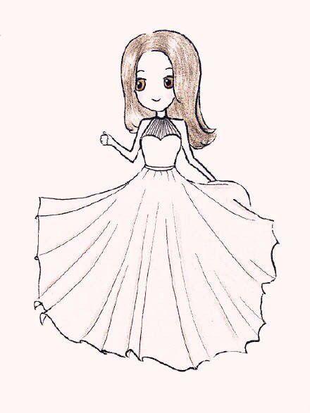 简笔画风格的唯美彩铅婚纱人物画创作分享