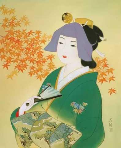 日本复古美女 | 插画-798