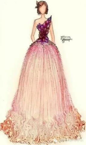 设计稿,手绘晚礼服,晚礼服手绘效果图,手绘晚礼服服装设计图, 宽528